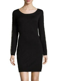 Marc New York by Andrew Marc Bead-Embellished Knit Sweaterdress, Black