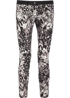 DKNY Animal-print stretch-cotton skinny pants