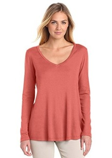 Three Dots Red Women's Long Sleeve V-Neck Swing Top