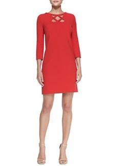 3/4-Sleeve Cutout-Neck Dress   3/4-Sleeve Cutout-Neck Dress