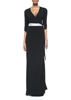 3/4-Sleeve Long Wrap Dress   3/4-Sleeve Long Wrap Dress
