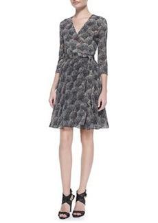 3/4-Sleeve Printed Silk Wrap Dress   3/4-Sleeve Printed Silk Wrap Dress