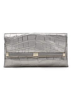 440 Envelope Metallic Croc Leather Clutch
