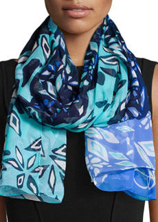 Abstract-Print Washed Chiffon Scarf, Blue Riviera   Abstract-Print Washed Chiffon Scarf, Blue Riviera