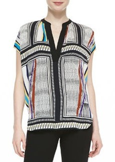 Alana Short-Sleeve Glass Scarf-Print Shirt   Alana Short-Sleeve Glass Scarf-Print Shirt