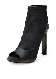 Amara Stretch Leather Open Toe Bootie