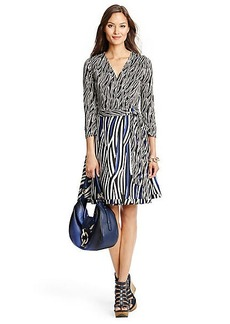 Amelia Silk Combo Flared Wrap Dress