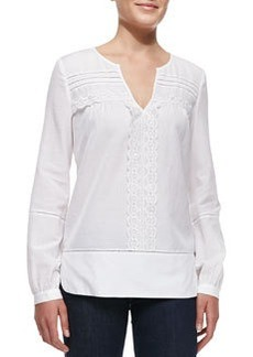 Andrea Long-Sleeve Lace-Strip Top   Andrea Long-Sleeve Lace-Strip Top