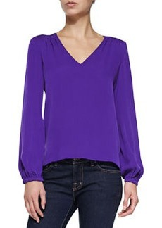 Arlenis Long-Sleeve Silk Top, Chrome Purple   Arlenis Long-Sleeve Silk Top, Chrome Purple