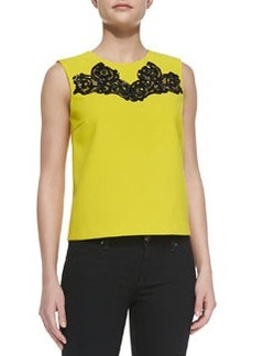 Betty Tank with Embroidered Neck   Betty Tank with Embroidered Neck