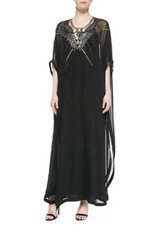 Clare Beaded Long Caftan Dress, Black   Clare Beaded Long Caftan Dress, Black