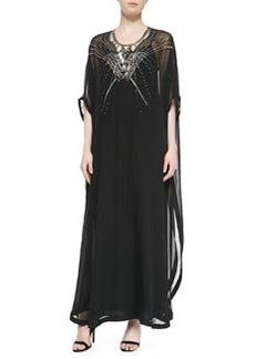 Clare Beaded Long Caftan Dress, Black   Clare Beaded Long Caftan Dress, Black