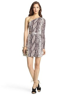 Coco Silk Jersey One Shoulder Mini Wrap Dress