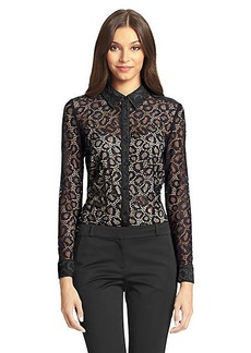 Colette Embellished Cheetah Lace Blouse
