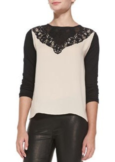 Colorblock Lace-Yoke Top   Colorblock Lace-Yoke Top
