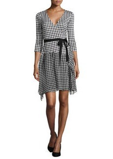 Diane von Furstenberg 3/4-Sleeve Gingham Wrap Dress