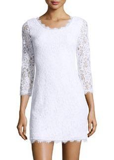 Diane von Furstenberg 3/4-Sleeve Lace Sheath Dress, White