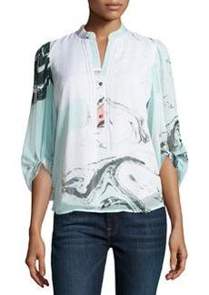 Diane von Furstenberg 3/4-Sleeve Marble-Print Crepe Tunic, Spring