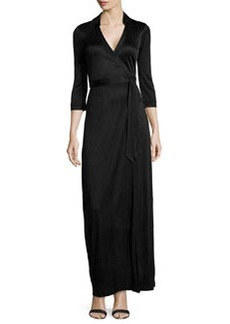 Diane von Furstenberg 3/4-Sleeve Maxi Wrap Dress