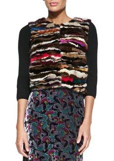 Diane von Furstenberg 3/4-Sleeve Mink Fur-Front Cardigan