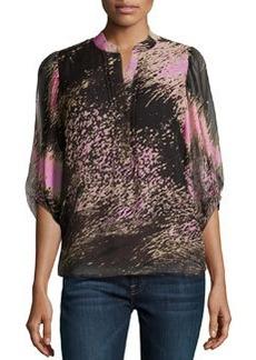 Diane von Furstenberg 3/4-Sleeve Printed Woven Blouse