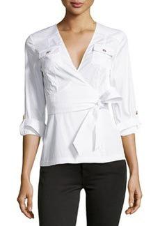 Diane von Furstenberg 3/4-Sleeve Wrap Blouse, White