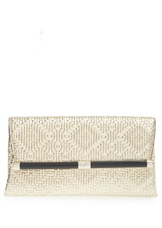 Diane von Furstenberg '440 - Weave' Embossed Metallic Leather Envelope Clutch