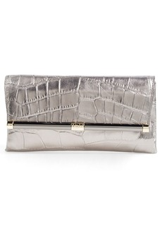 Diane von Furstenberg '440' Croc Embossed Metallic Leather Envelope Clutch