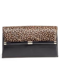 Diane Von Furstenberg '440' Leopard Print Calf Hair Envelope Clutch