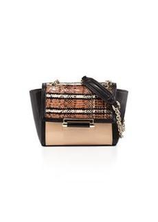 Diane von Furstenberg 440 Mini Snakeskin Crossbody Bag, Sandalwood/Black