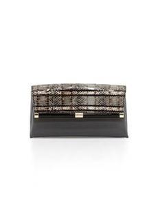 Diane von Furstenberg 440 Snakeskin Envelope Clutch Bag, Flint/Black