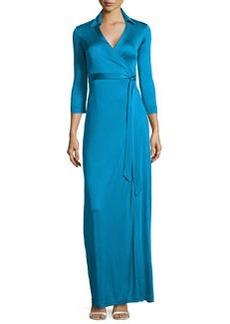Diane von Furstenberg Abigail Wrap Tie-Waist Gown, Topaz