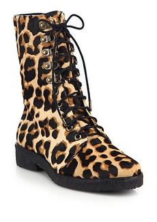 Diane von Furstenberg Ace Leopard-Print Calf Hair Ankle Boots
