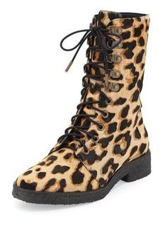 Diane von Furstenberg Ace Leopard-Print Calf Hair Combat Boot