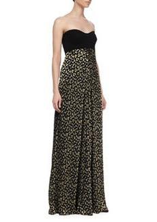 Diane von Furstenberg Adriana Strapless Silk Leopard-Print Maxi Dress