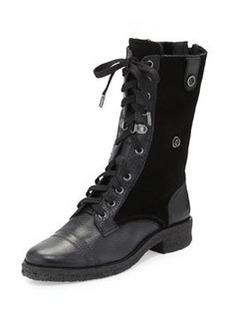 Diane von Furstenberg Alexia Too Shearling Fur Combat Boot, Black