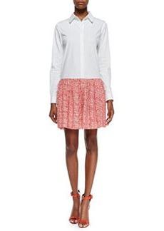 Diane von Furstenberg Alison Contrast Shirtdress, White/Chile Mesh