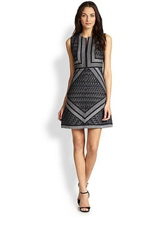Diane von Furstenberg Amanda Mixed Media Shift Dress