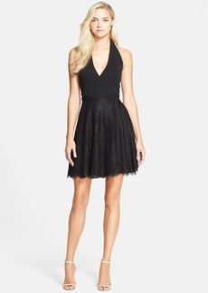Diane von Furstenberg 'Amelia' Metallic Lace Halter Wrap Dress