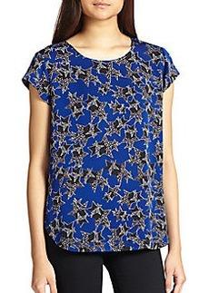 Diane von Furstenberg America Too Star-Print Silk Top