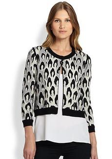 Diane von Furstenberg Animal-Knit Wool Cardigan