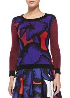 Diane von Furstenberg April Floral Sweater w/ Striped Sleeves
