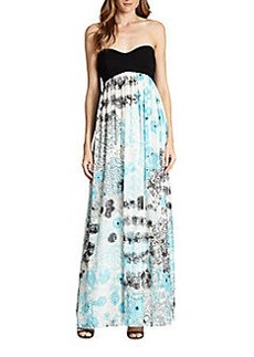 Diane von Furstenberg Asti Strapless Printed Silk-Blend Maxi Dress
