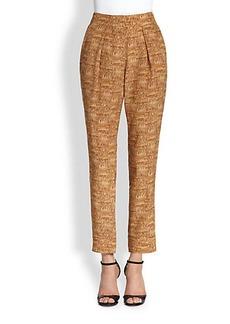 Diane von Furstenberg Atlas Silk Cork-Print Straight-Leg Pants