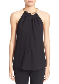 Diane von Furstenberg 'Aubrey 2' Chain Collar Silk Sleeveless Top
