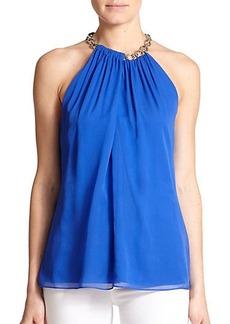 Diane von Furstenberg Aubrey Chained-Collar Silk Halter Top