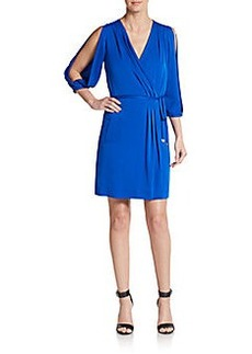 Diane von Furstenberg Autumn Split Sleeve Silk Blend Wrap Dress