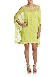 Diane von Furstenberg Bead-Edged Silk Poncho Dress