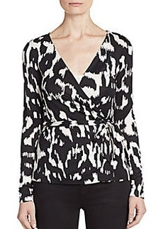 Diane von Furstenberg Behati Silk Abstract Wrap Top