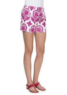 Diane Von Furstenberg Benan Printed Drawstring Shorts, Purple